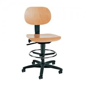 Werkstoel met houten zitting