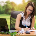 Office in the nature, young business woman working outdoor